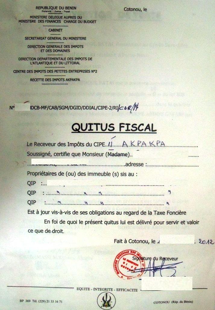 Le quitus fiscal